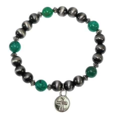 West and Co. Turquoise and Silver Stretch Bead Bracelet