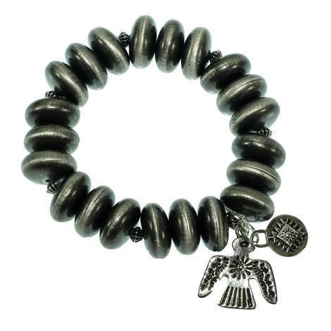 West & Company Silver Stretch Bracelet with Thunderbird Charm