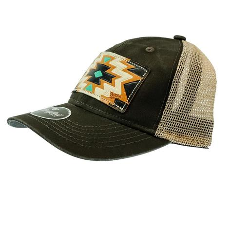 Miranda McIntire Women's Brown Cap with Turquoise and Black Aztec Patch