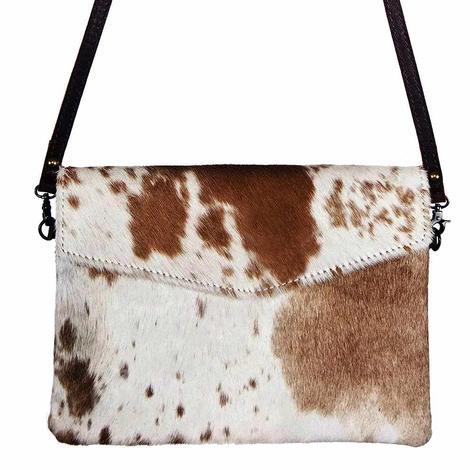 American Darling Bags Tan and White Hide Crossbody Bag
