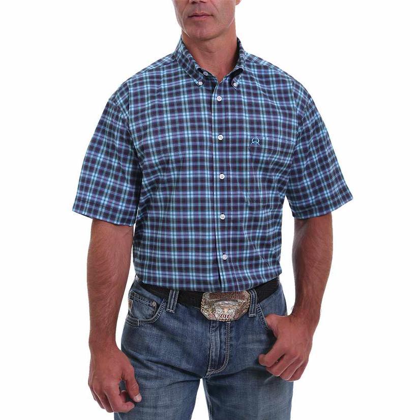 Cinch Blue Plaid Buttondown Short Sleeve Men's Shirt