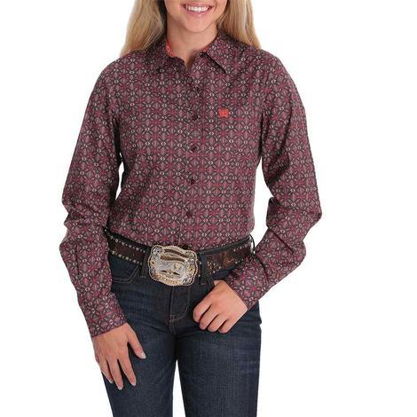 Cinch Burgundy Pink Print Long Sleeve Buttondown Women's Shirt