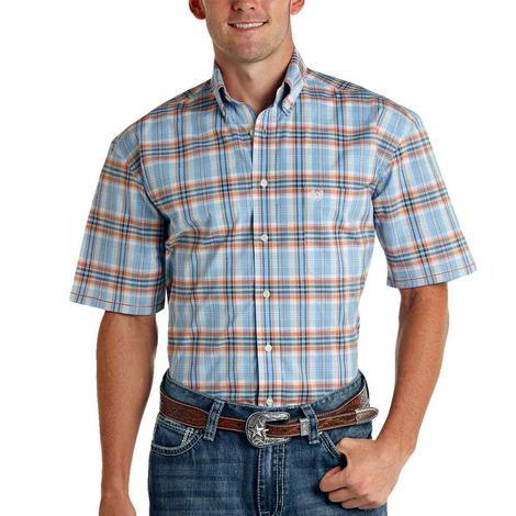 Panhandle Light Blue and Orange Plaid Buttondown Short Sleeve Men's Shirt