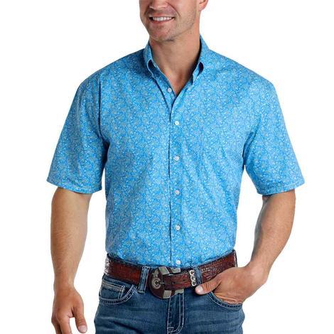 Panhandle Blue Print Short Sleeve Buttondown Men's Shirt