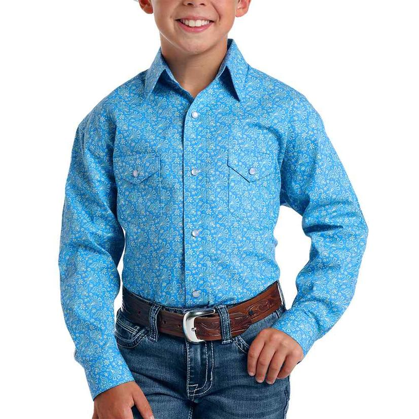 Panhandle Blue Print Long Sleeve Buttondown Boy's Shirt