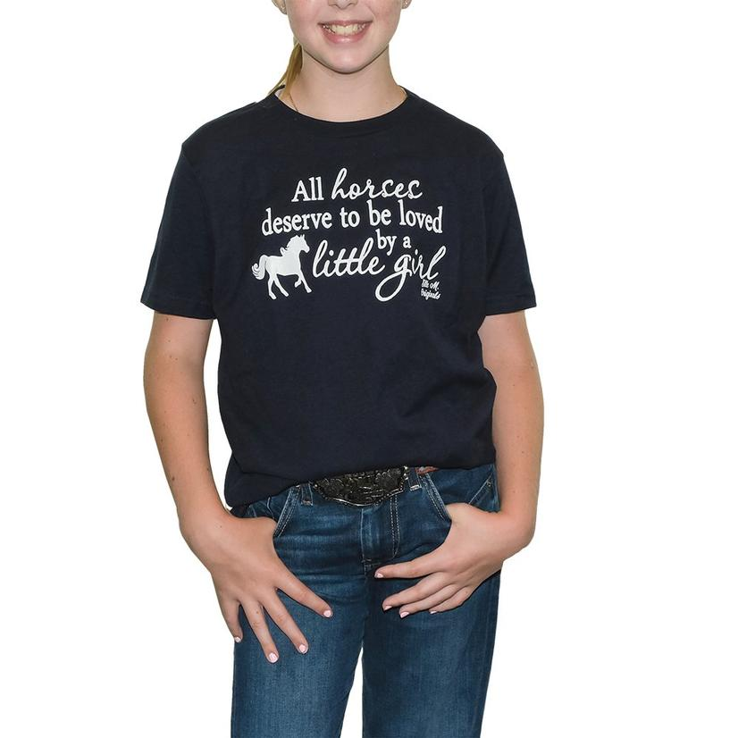 Elle M Original All Horses Girl's Tee NAVY