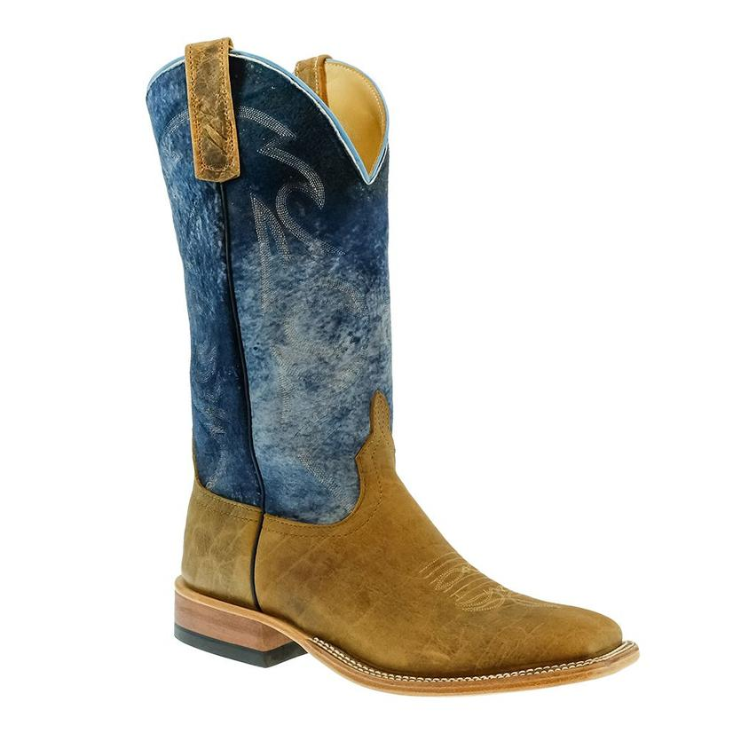 Anderson Bean Natural Brahma Bison With Navy Boots