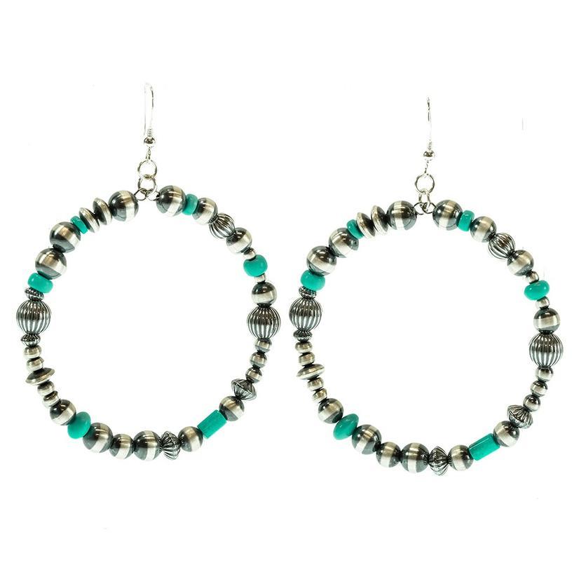Stt Turquoise And Navajo Pearl Loop Earrings
