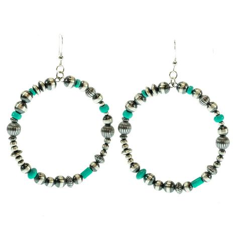 STT Turquoise and Navajo Pearl Loop Earrings