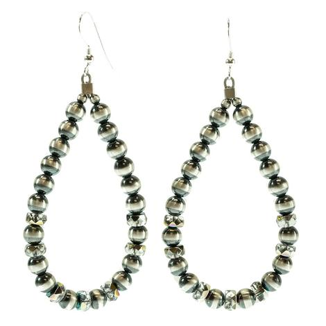 STT Navajo Pearl and Shimmer Drop Earrings
