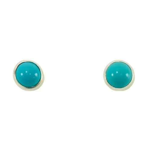 STT Smooth Silver Turquoise Stud Earrings