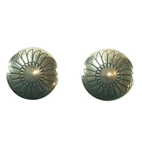 STT Silver Concho Earrings Round