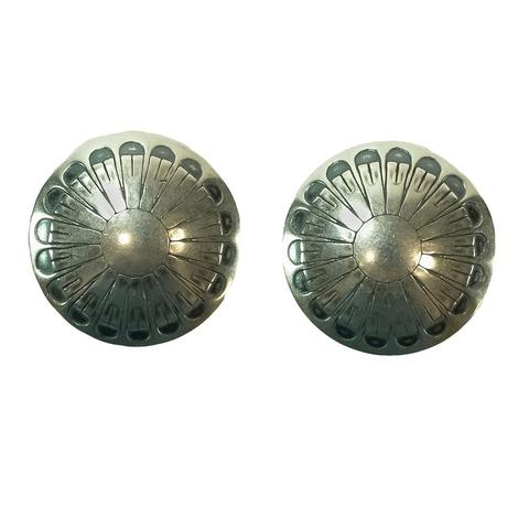 STT Silver Concho Round Earrings