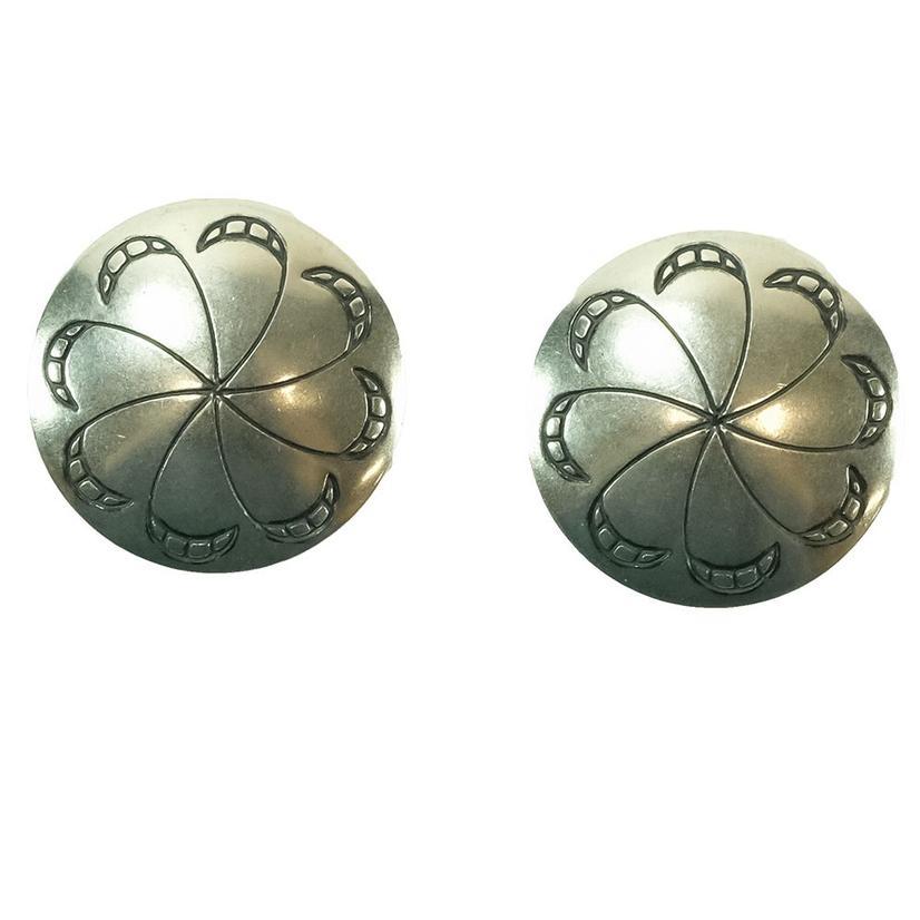 Stt Silver Concho Windmill Spiral Earrings