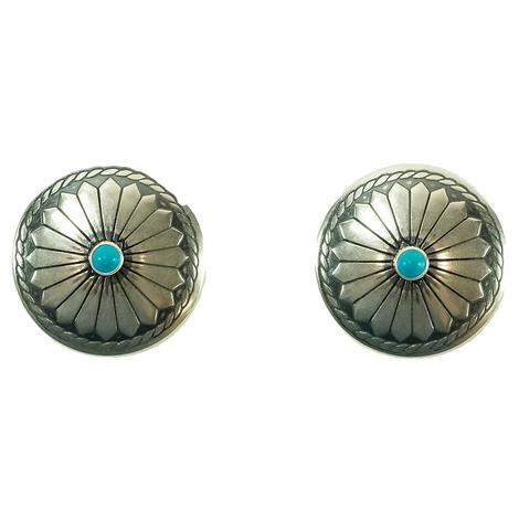 STT Turquoise and Silver Concho Earrings