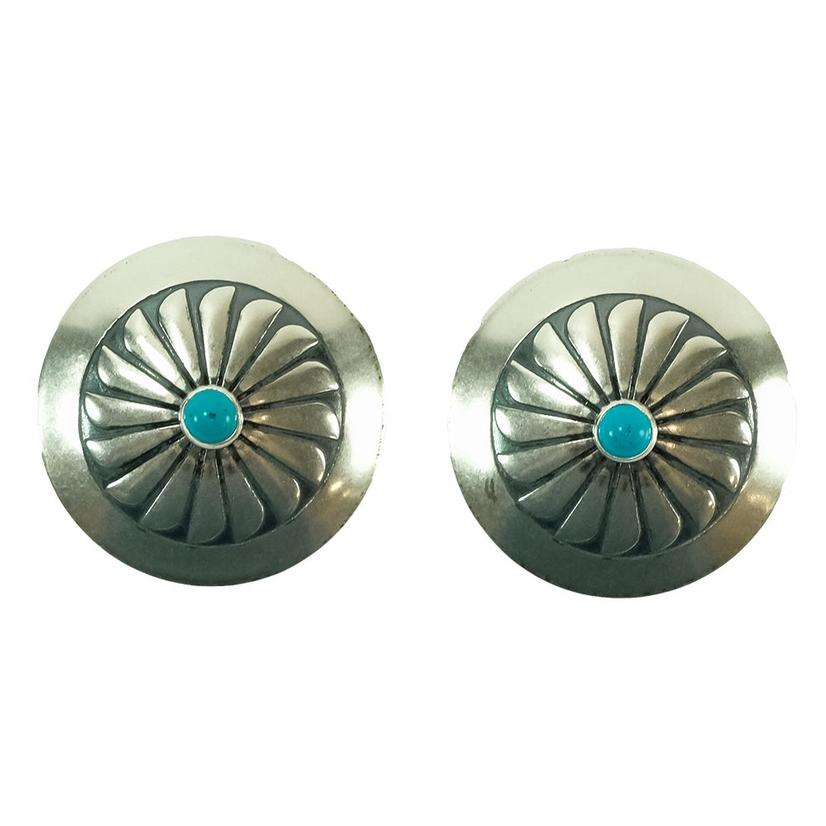 Stt Medium Turquoise And Silver Concho Earrings