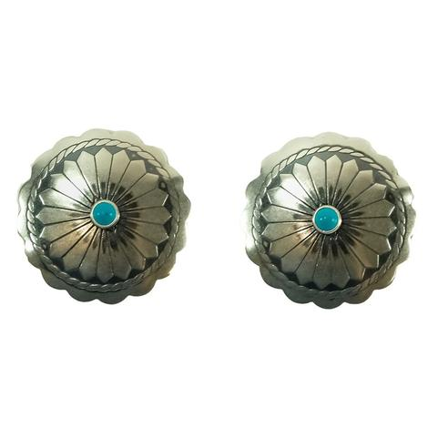 STT Silver Concho Design Earrings with Turquoise Stone