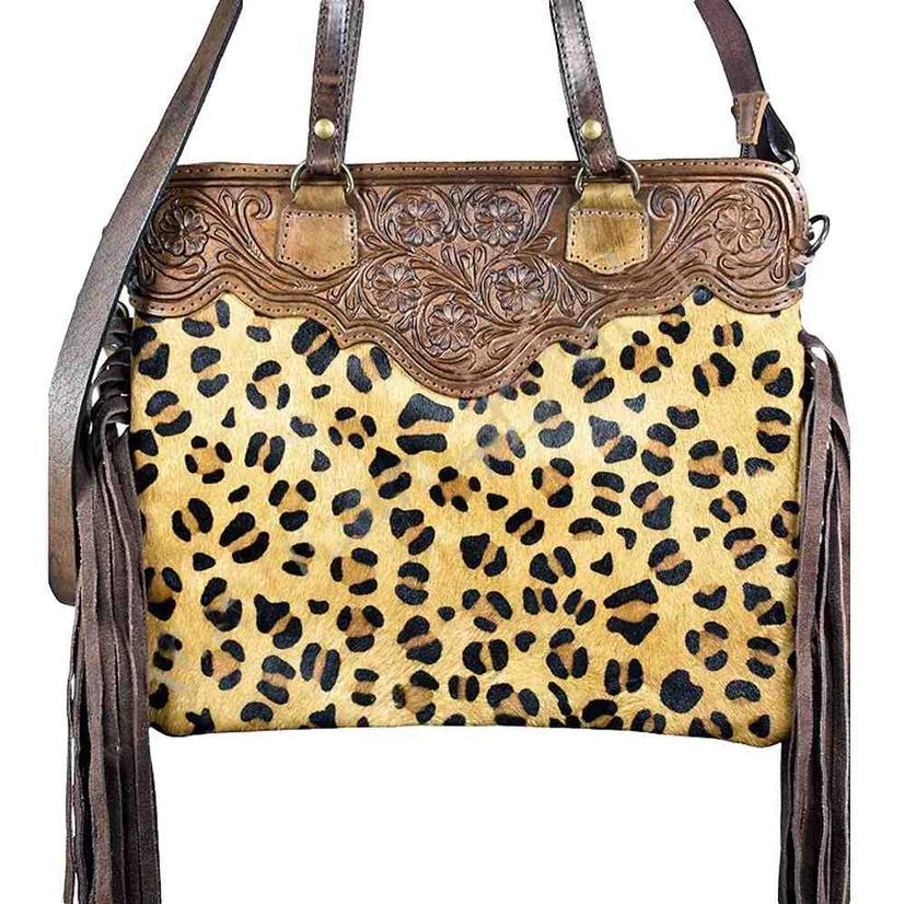 American Darling Bags Cheetah Print And Brown Leather Tool Handbag