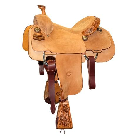 STT Custom Calf Roper Full Roughout with Floral Accents Saddle