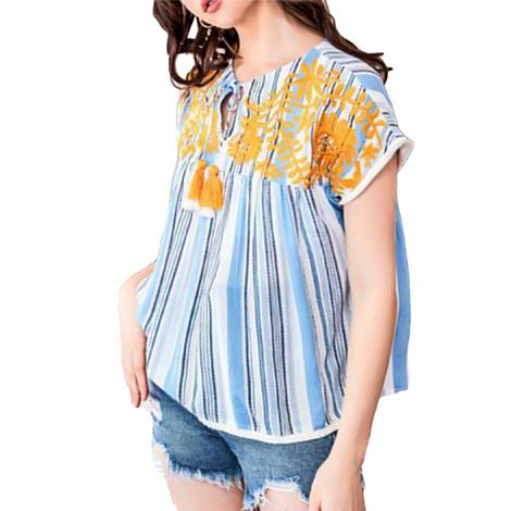 Women's Blue Striped Embroidered Short Sleeve Top