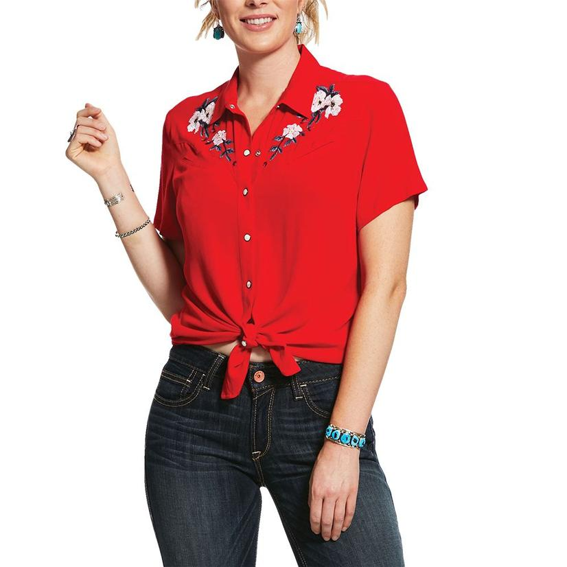 Ariat Jane Vintage Red Pearl Snap Short Sleeve Women's Shirt