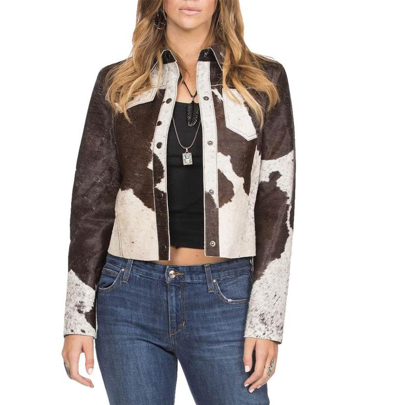 Double D Ranch Udderly Fabulous Brown And White Hide Women's Jacket