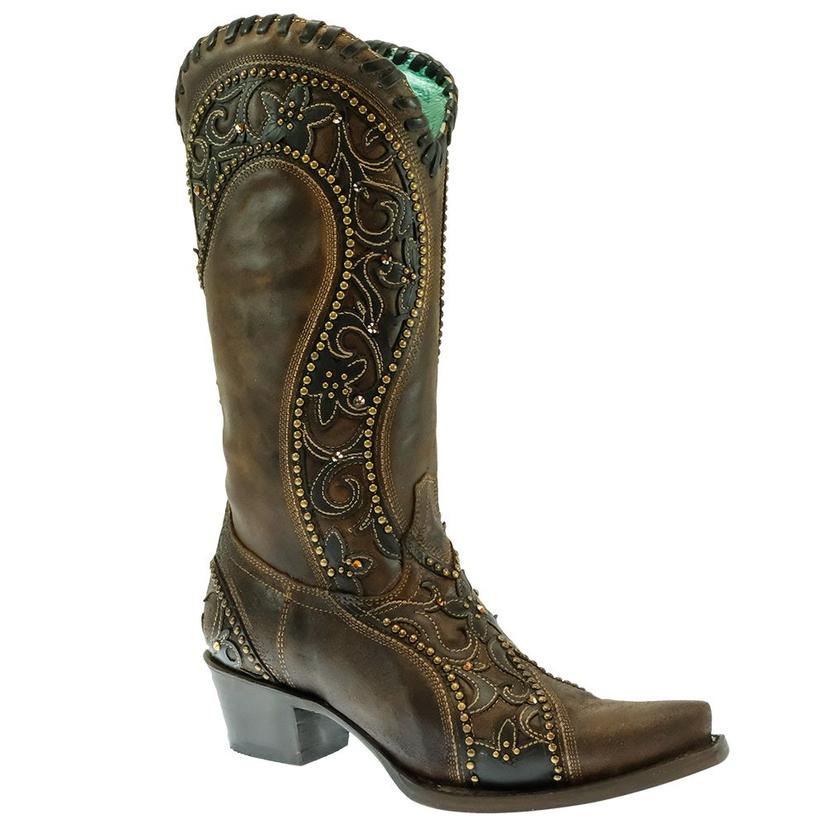 Corral Brown Overlay With Crystal Studs Women's Boots