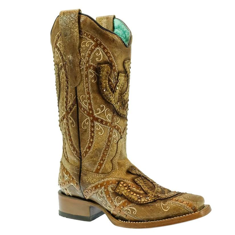 Corral Straw Horseshoe Embroidered With Crystal Studs Women's Boots