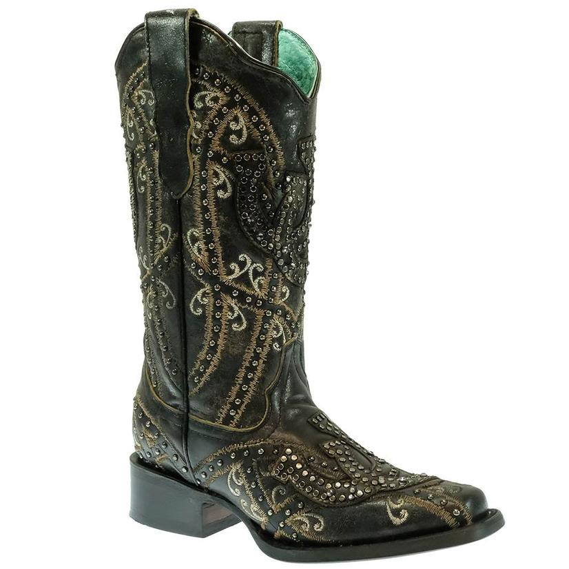 Corral Black Horseshoe Overlay With Studs Women's Boots