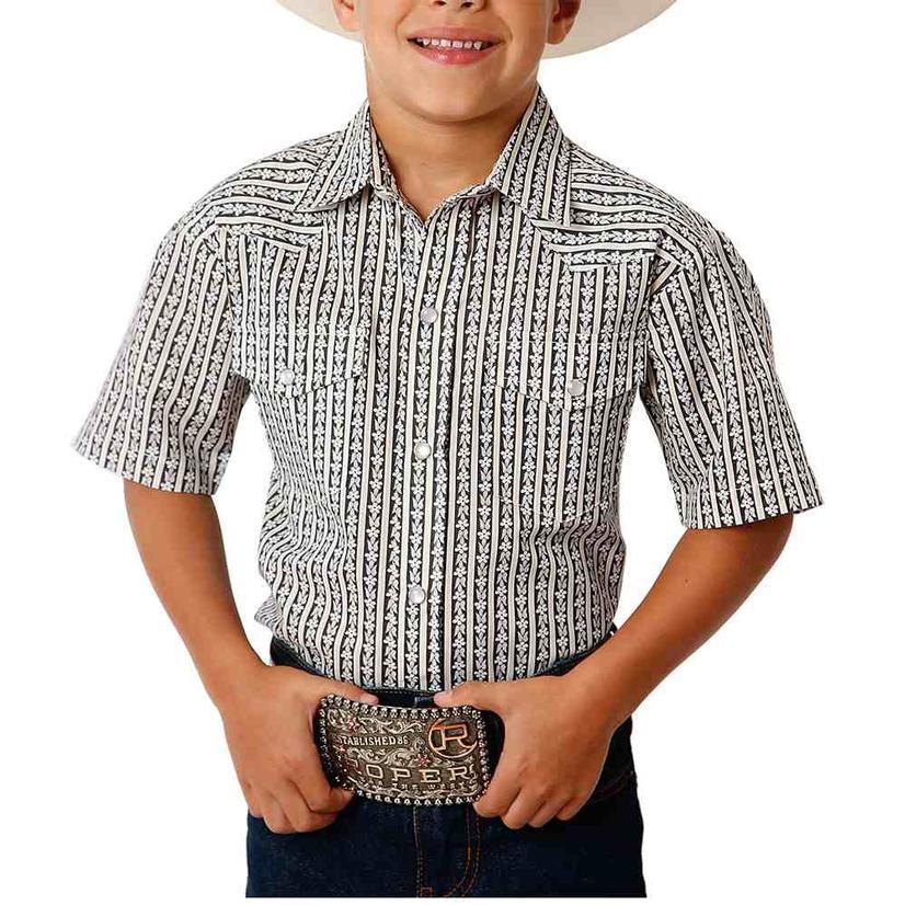 Roper Black White Floral Print Snap Short Sleeve Boy's Shirt