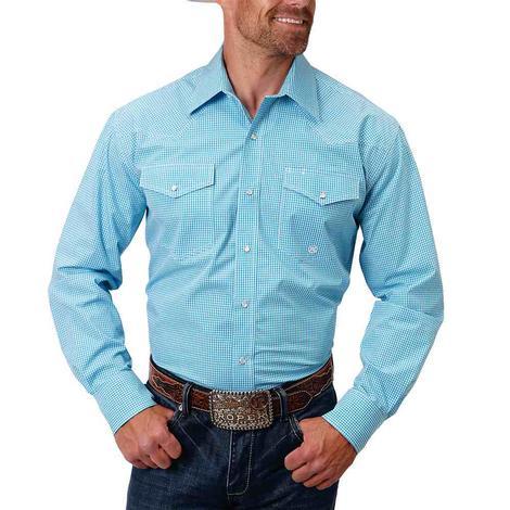 Roper Turquoise Gingham Print Snap Long Sleeve Men's Shirt