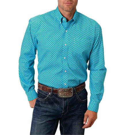 Roper Turquoise Print Long Sleeve Buttondown Men's Shirt