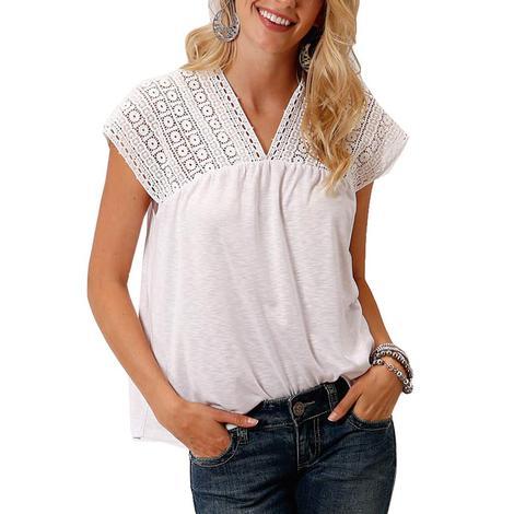 Roper White Crochet Lace Sleeve Women's Top