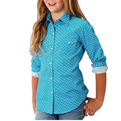 Roper Blue Print Long Sleeve Snap Girl's Shirt