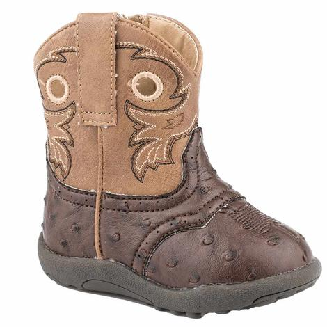 Roper Cowbaby Tan Brown Faux Ostrich Infant Boots
