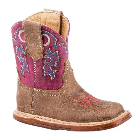 Roper Cowbaby Tan Pink Infant Boots