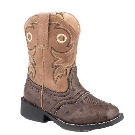 Roper Tan Brown Faux Ostrich Toddler Boots