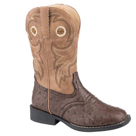 Roper Tan Brown Faux Ostrich Youth Boots