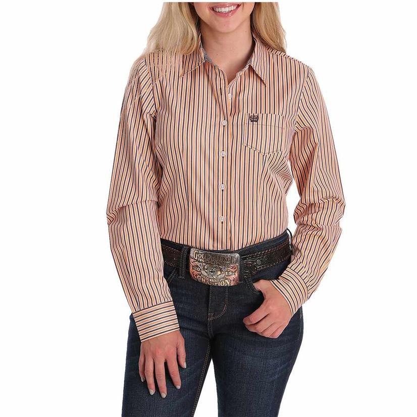 Cinch Orange Stripe Tencel Long Sleeve Buttondown Women's Shirt