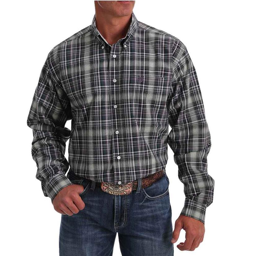 Cinch Purple Green Big Plaid Long Sleeve Buttondown Men's Shirt