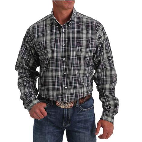 Cinch Purple Green Big Plaid Long Sleeve Buttondown Men's Shirt