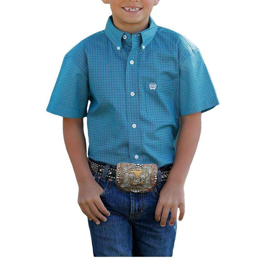 Cinch Boy's Short Sleeve Blue Button Down Shirt