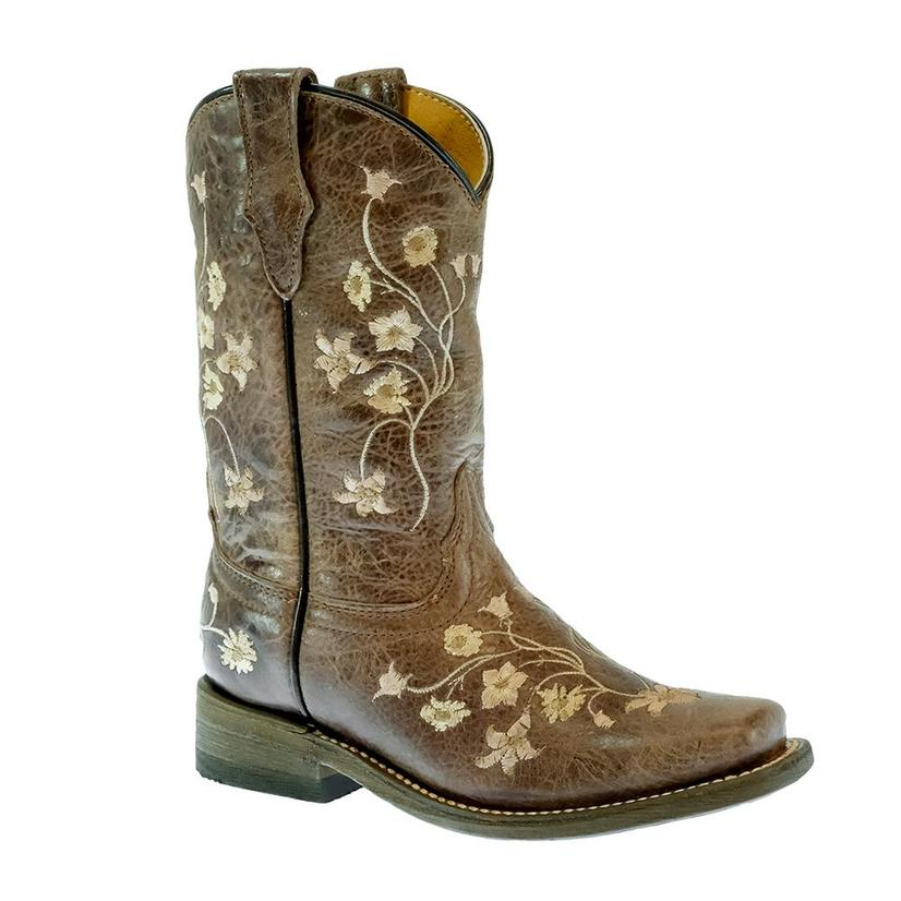 Corral Brown Floral Embroidered Kid Boots
