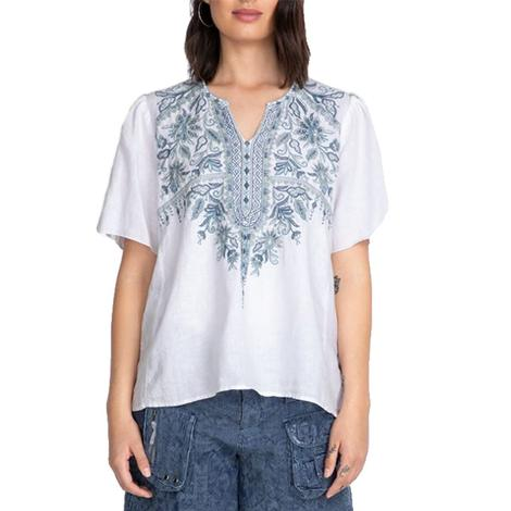 Johnny Was White Maike Flutter Sleeve Blouse