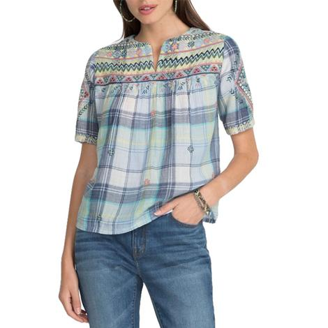 Johnny Was Chiara V-Neck Crop Blouse