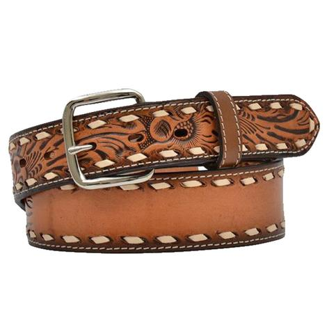 Brown Tooled White Buckstitch Tooled Kid's Belt