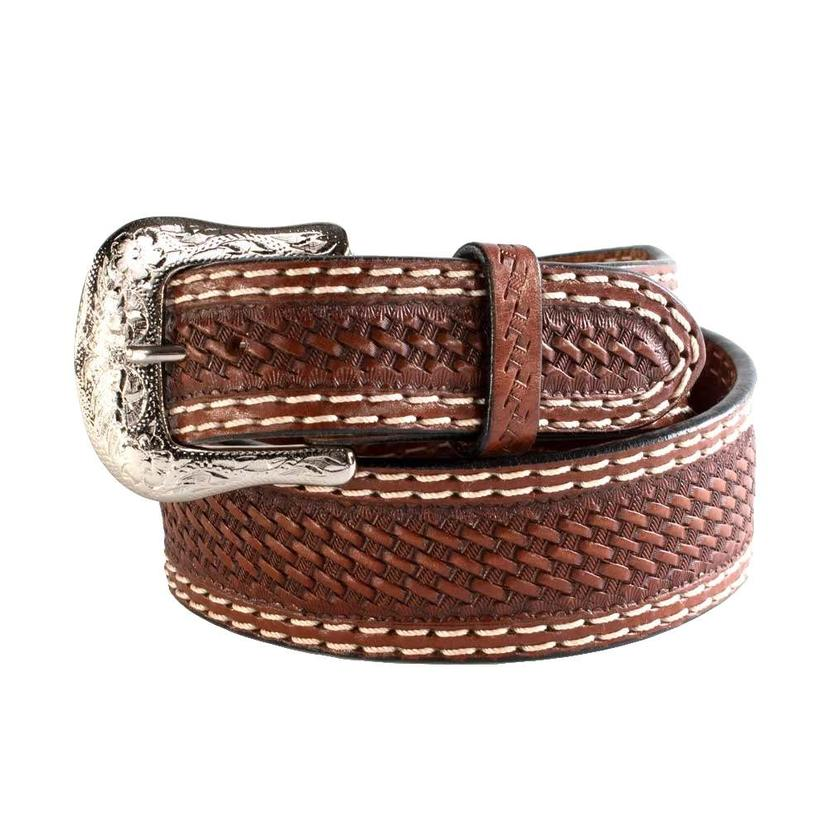 Brown Basketweave White Double Stitched Men's Belt