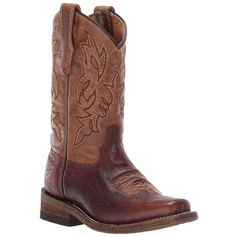 Corral Kid Brown and Honey Square Toe Boot