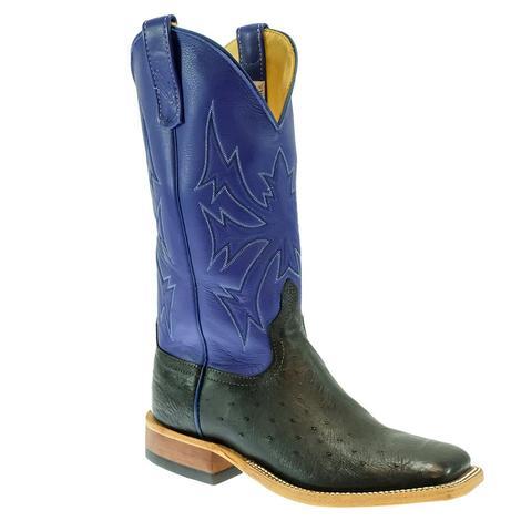 Anderson Bean Royal Blue Deercrow Black Ostrich Men's Boot