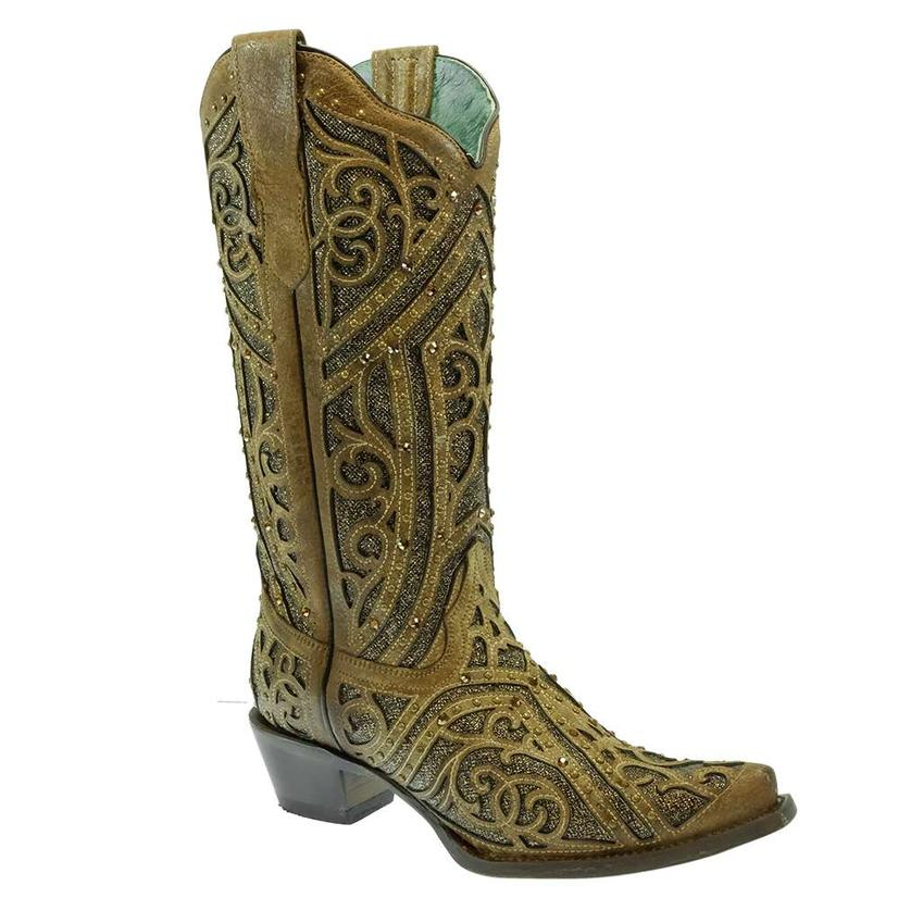 Ladies Corral Inlay And Studded Leather Boots